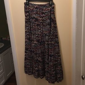 Multi Color Zig Zag Tiered Peasant Skirt